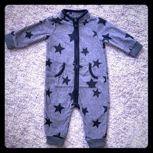 Gray & Black Stars Cozy Fleece Romper by Carter's